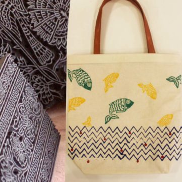 Block Printing on Tote Bag