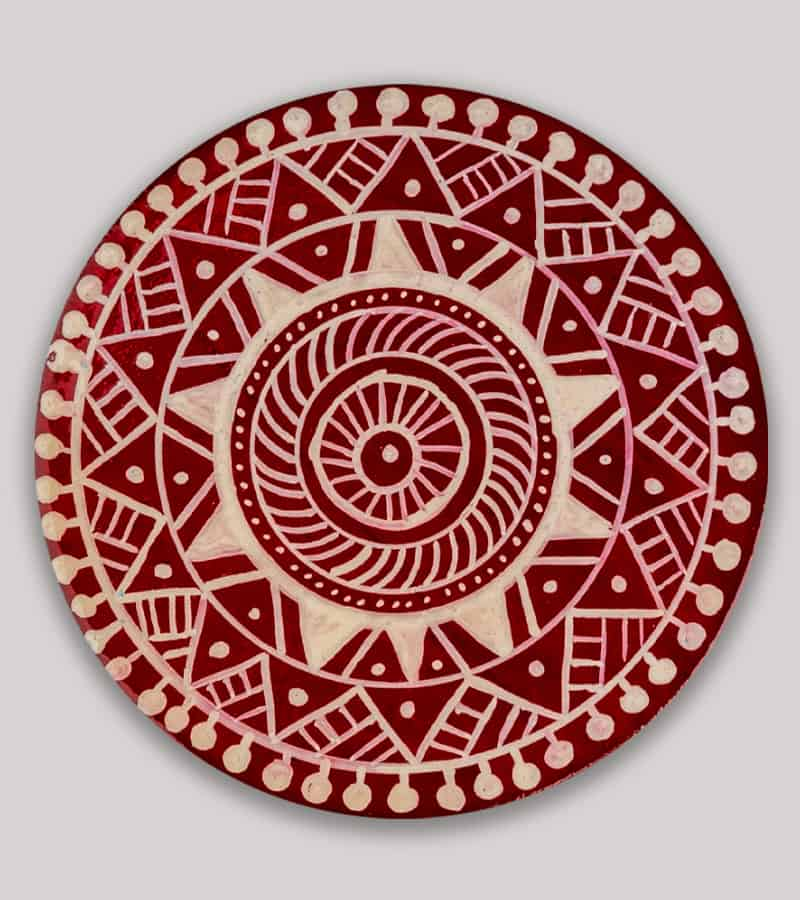 Hand Painted Wooden Traditional Mandana Art Magnet